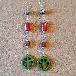 Hand made Green Peace Long Dangel Earrings